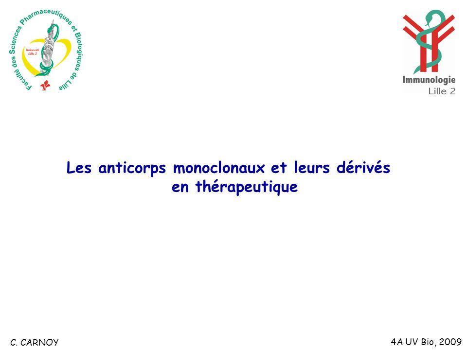 Les anticorps monoclonaux et leurs dérivés en thérapeutique 4A UV Bio, 2009 C. CARNOY