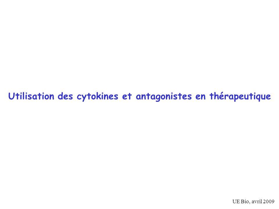 Cytokines agissant sur lhématopoièse G-CSF Filgrastim G-CSF (NEUPOGEN inj); pegfilgrastim (NEULASTA ) Lenograstim G-CSF (GRANOCYTE 13-34 inj) (GM-CSF, Molgramostim GM-CSF (LEUCOMAX inj) (pas dispo en France)) indications : - récupération du système myéloïde après transplantation de moelle osseuse - donneurs sains dallogreffe - leucopénie (neutropénie) après chimiothérapie anti-cancéreuse Cellule souche myéloide Prog.-Baso Prog.-Eo Prog.-GEMM Prog.-G Prog.- MEG Prog.- E Erythrocytes Plaquettes Prog.- GM Prog.-M Basophile, mastocyte Eosinophile PMN monocyte G G GM