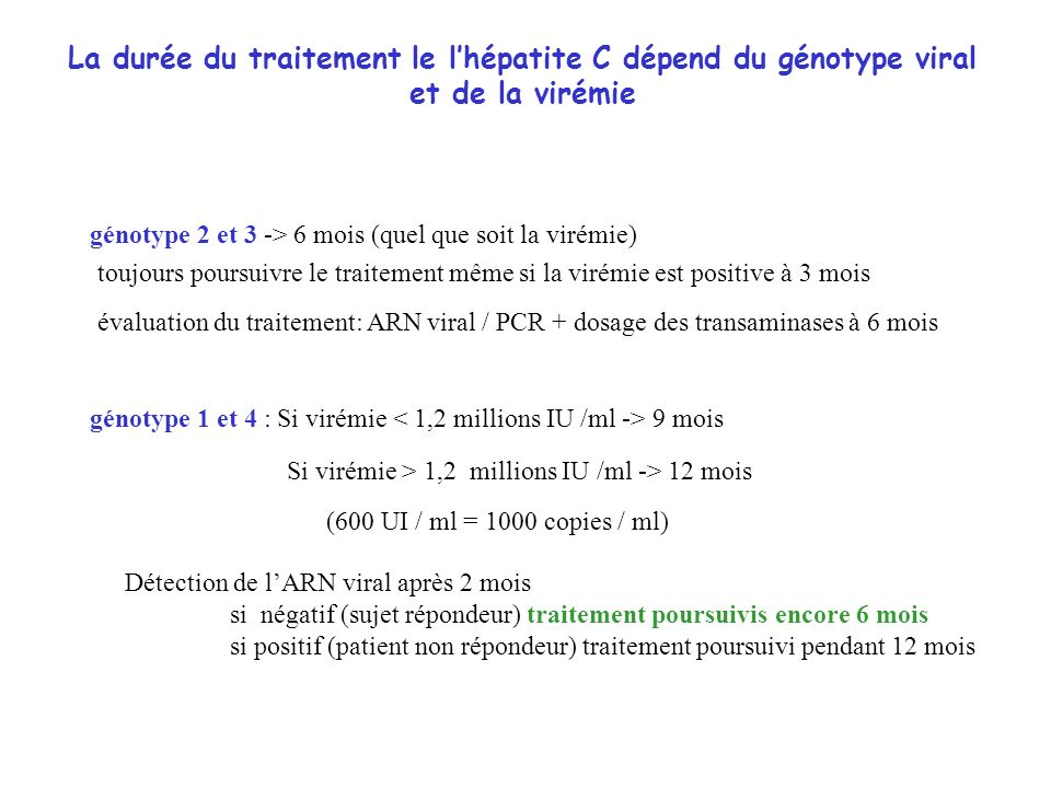 La durée du traitement le lhépatite C dépend du génotype viral et de la virémie génotype 2 et 3 -> 6 mois (quel que soit la virémie) toujours poursuiv