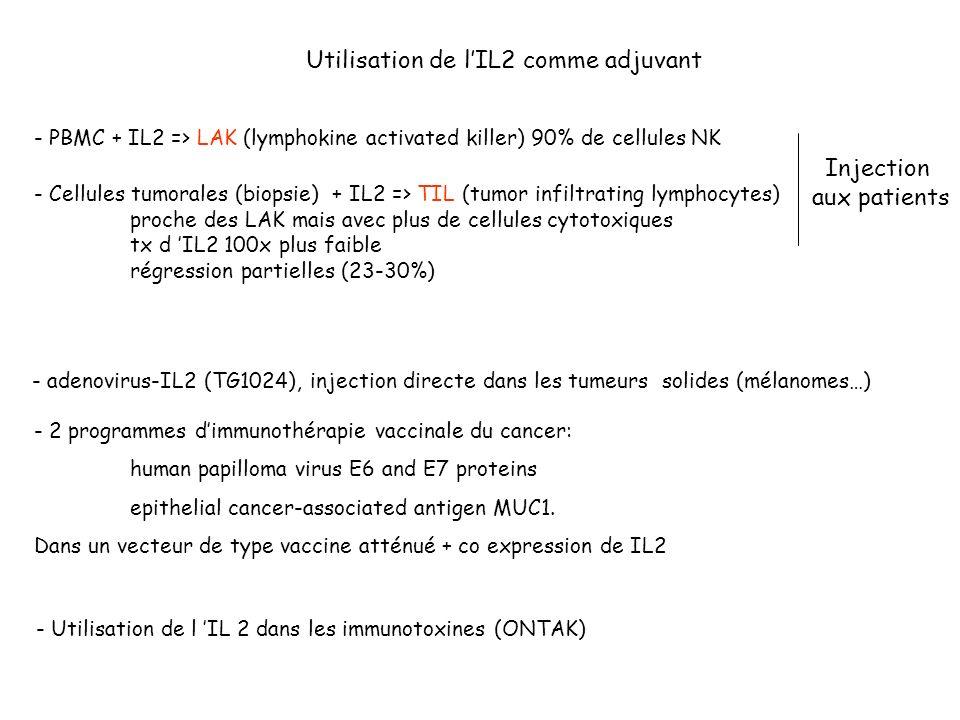 - adenovirus-IL2 (TG1024), injection directe dans les tumeurs solides (mélanomes…) - 2 programmes dimmunothérapie vaccinale du cancer: human papilloma