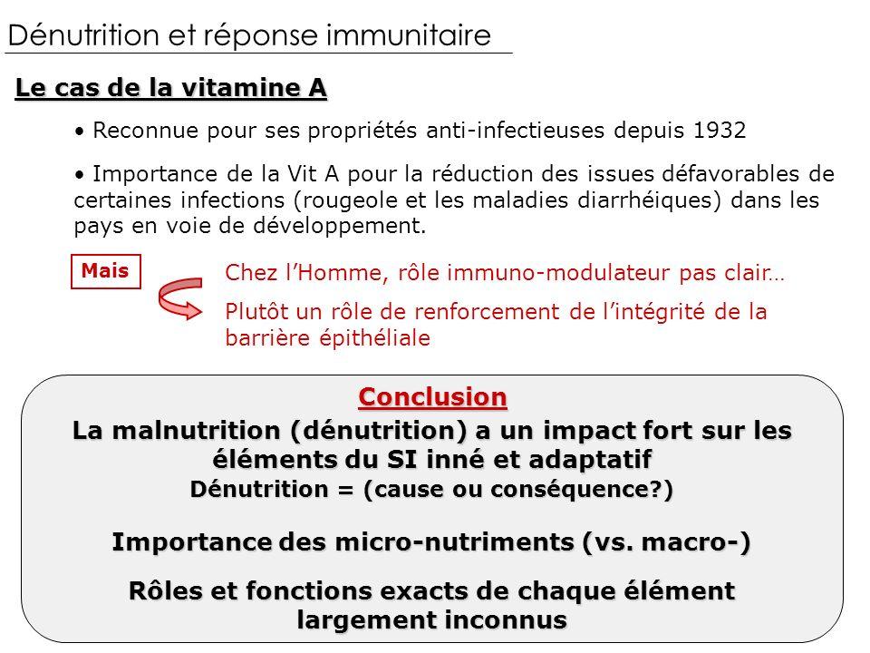 Le cas de la vitamine A Dénutrition et réponse immunitaire Reconnue pour ses propriétés anti-infectieuses depuis 1932 Importance de la Vit A pour la réduction des issues défavorables de certaines infections (rougeole et les maladies diarrhéiques) dans les pays en voie de développement.