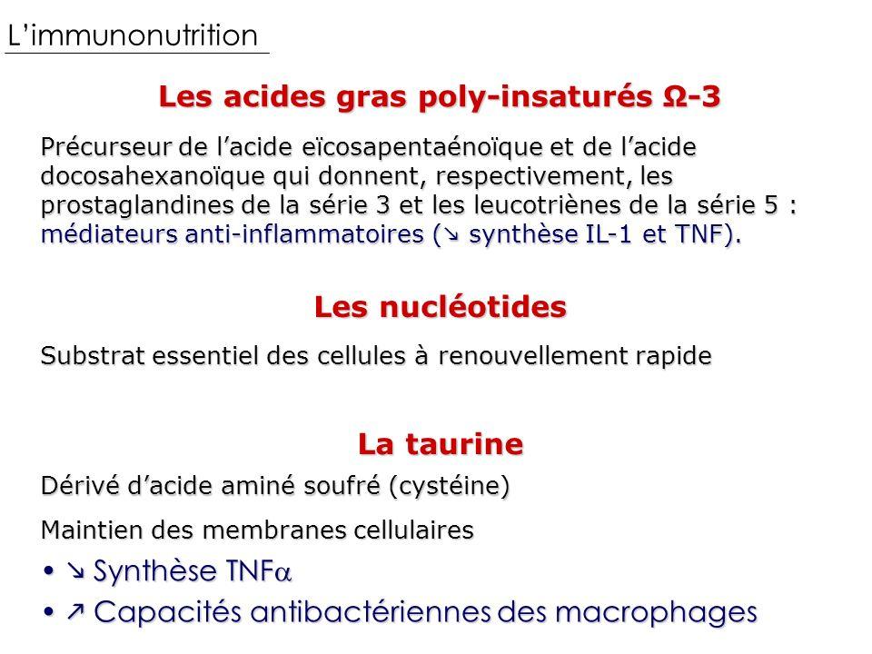 Les acides gras poly-insaturés Ω-3 Limmunonutrition Précurseur de lacide eïcosapentaénoïque et de lacide docosahexanoïque qui donnent, respectivement, les prostaglandines de la série 3 et les leucotriènes de la série 5 : médiateurs anti-inflammatoires ( synthèse IL-1 et TNF).