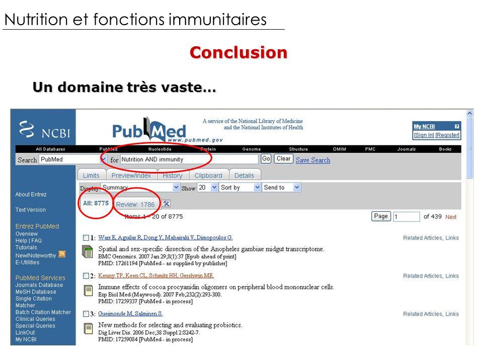 Nutrition et fonctions immunitairesConclusion Un domaine très vaste…