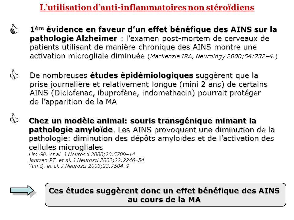 Lutilisation danti-inflammatoires non stéroïdiens 1 ère évidence en faveur dun effet bénéfique des AINS sur la pathologie Alzheimer : lexamen post-mor