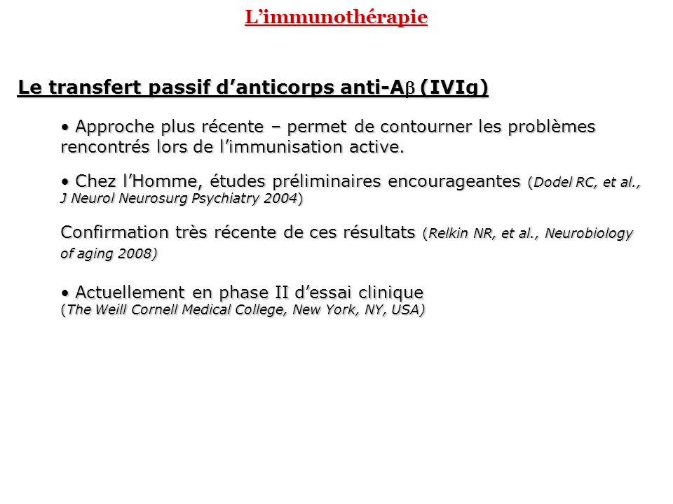 Limmunothérapie Le transfert passif danticorps anti-A(IVIg) Approche plus récente – permet de contourner les problèmes rencontrés lors de limmunisatio
