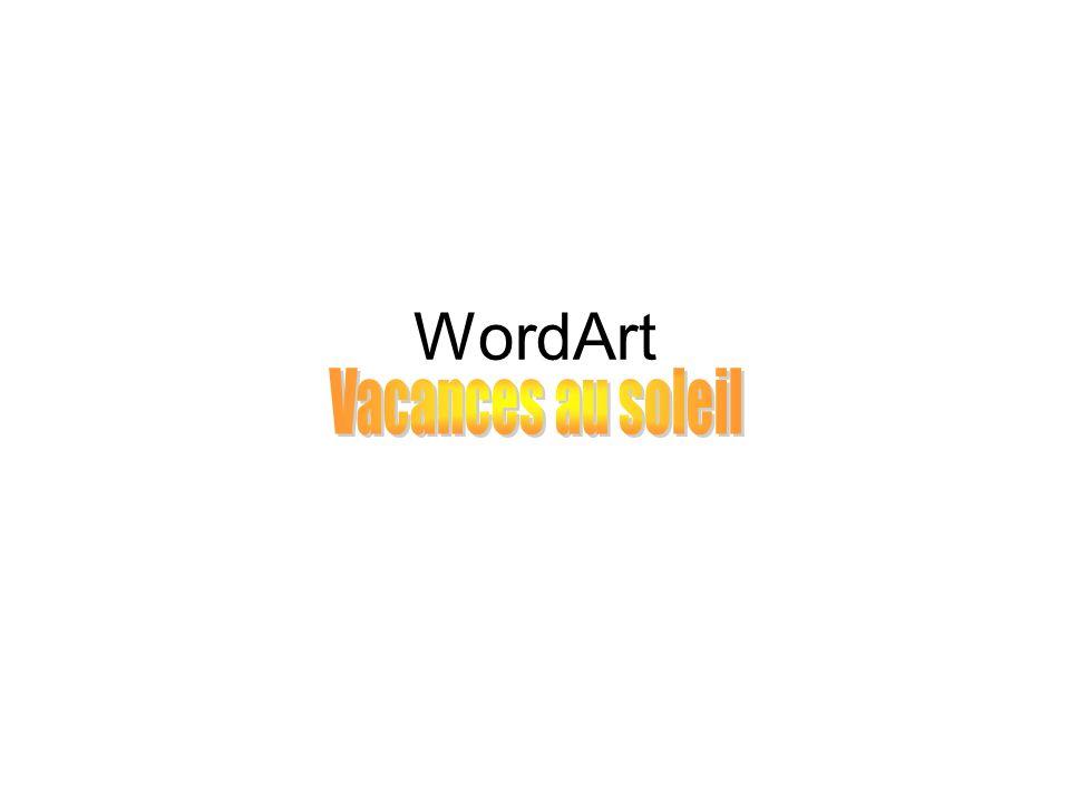 Plan de la présentation A.Comment créer un WordArt B.Comment ajuster son WordArt a)Ajuster le texte de son WordArt b)Ajuster les dimensions de son WordArt c)Changer de WordArt Note : les diapositives en bleues sont liées aux caractéristiques des WordArts