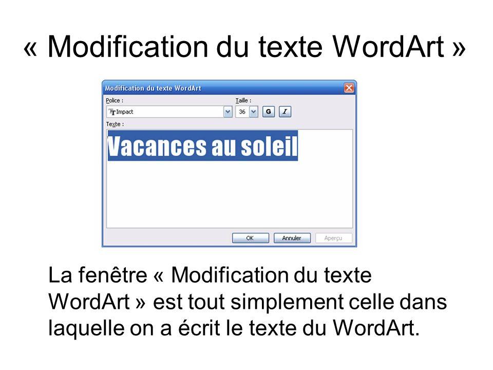 La fenêtre « Modification du texte WordArt » est tout simplement celle dans laquelle on a écrit le texte du WordArt. « Modification du texte WordArt »