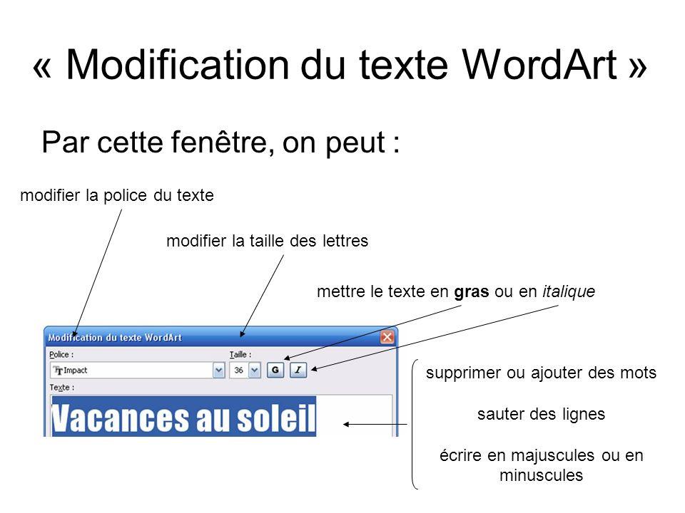 Par cette fenêtre, on peut : « Modification du texte WordArt » modifier la police du texte modifier la taille des lettres mettre le texte en gras ou e