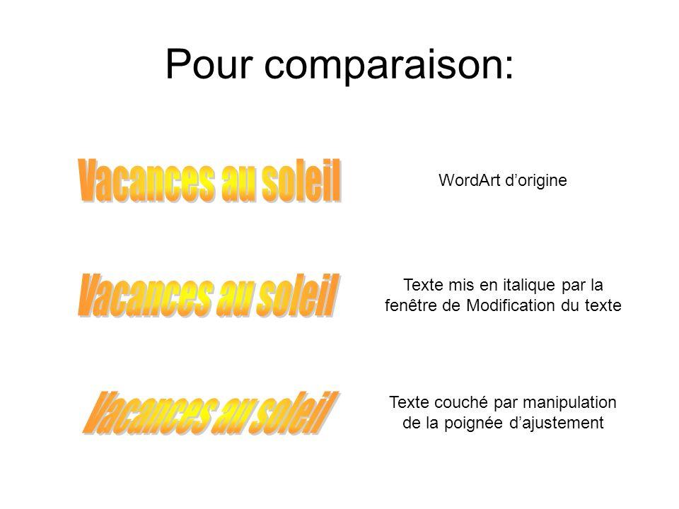 Pour comparaison: WordArt dorigine Texte mis en italique par la fenêtre de Modification du texte Texte couché par manipulation de la poignée dajusteme