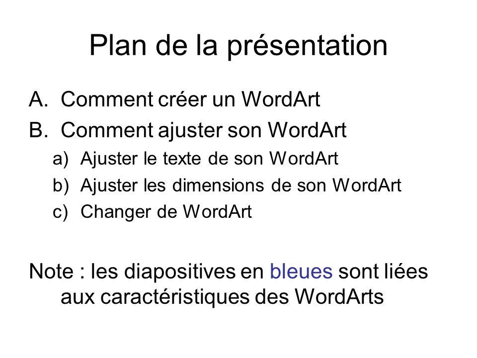 Plan de la présentation A.Comment créer un WordArt B.Comment ajuster son WordArt a)Ajuster le texte de son WordArt b)Ajuster les dimensions de son Wor