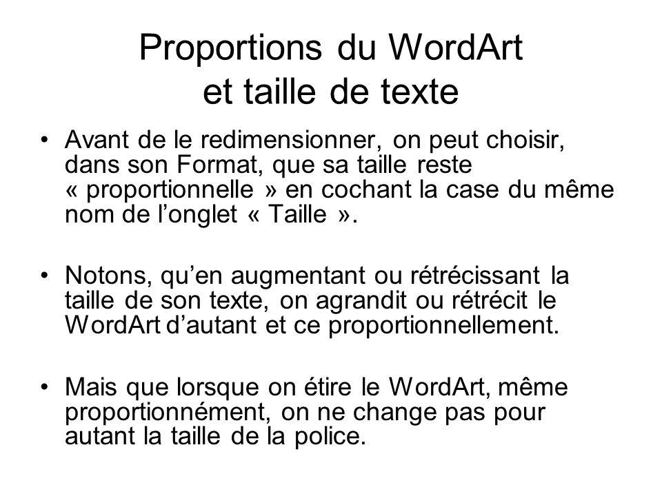 Proportions du WordArt et taille de texte Avant de le redimensionner, on peut choisir, dans son Format, que sa taille reste « proportionnelle » en coc