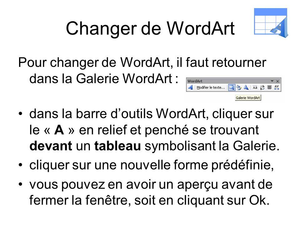 Changer de WordArt Pour changer de WordArt, il faut retourner dans la Galerie WordArt : dans la barre doutils WordArt, cliquer sur le « A » en relief