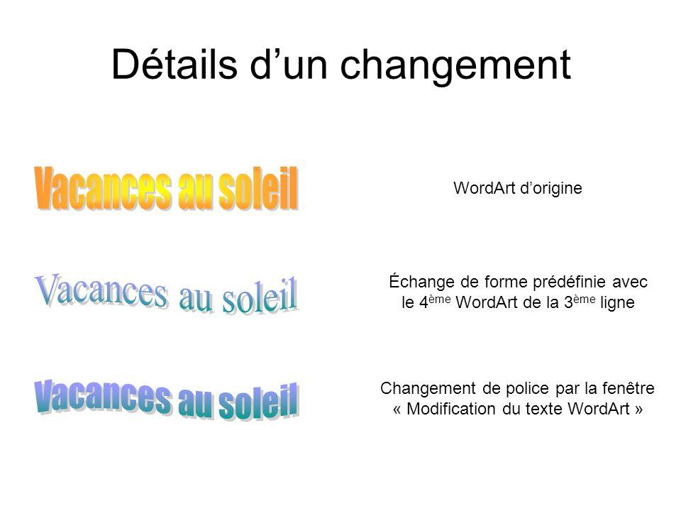 Détails dun changement WordArt dorigine Échange de forme prédéfinie avec le 4 ème WordArt de la 3 ème ligne Changement de police par la fenêtre « Modi