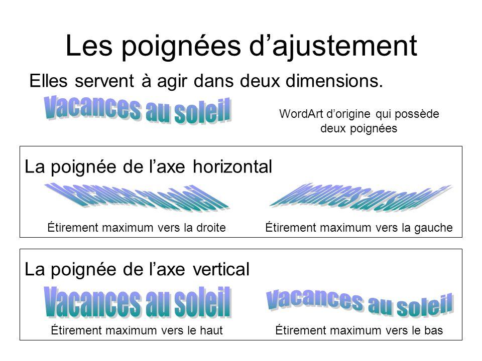 La poignée de laxe horizontal La poignée de laxe vertical Les poignées dajustement WordArt dorigine qui possède deux poignées Étirement maximum vers l