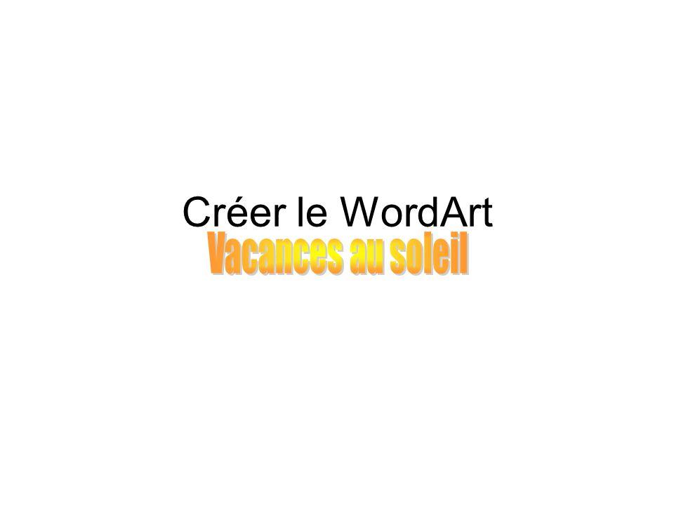 Créer un WordArt, cest : 1.Commander linsertion dun WordArt, 2.Choisir le type de WordArt, 3.Rédiger son texte, 4.Insérer son WordArt.