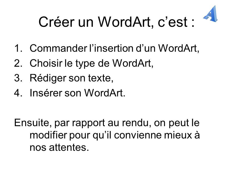 Changer de WordArt Pour changer de WordArt, il faut retourner dans la Galerie WordArt : dans la barre doutils WordArt, cliquer sur le « A » en relief et penché se trouvant devant un tableau symbolisant la Galerie.