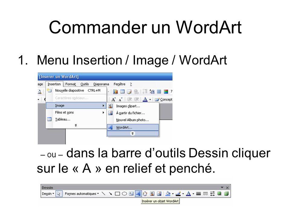 Commander un WordArt 1.Menu Insertion / Image / WordArt – ou – dans la barre doutils Dessin cliquer sur le « A » en relief et penché.