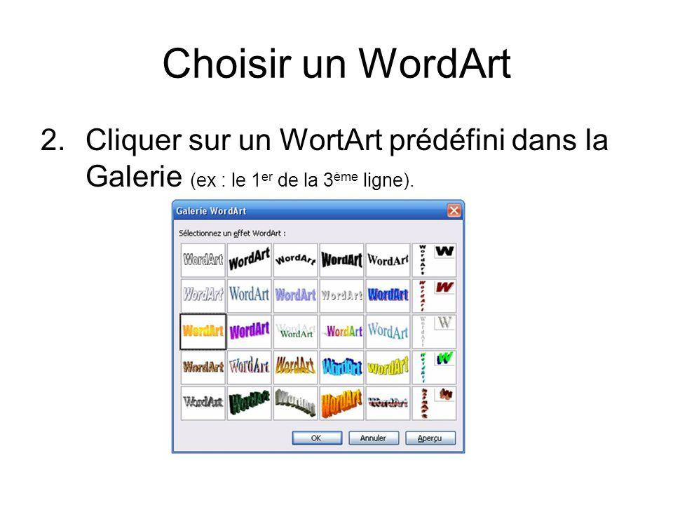Rédiger le texte WordArt 3.Écrire du texte dans la fenêtre (ex : Vacances au soleil).