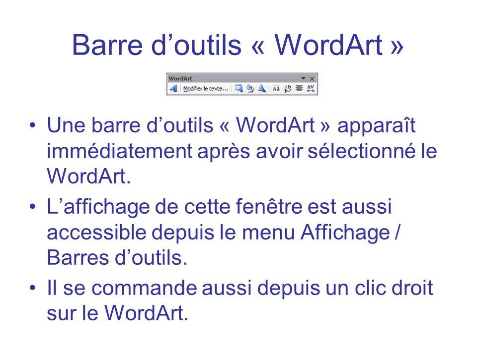 Barre doutils « WordArt » Une barre doutils « WordArt » apparaît immédiatement après avoir sélectionné le WordArt. Laffichage de cette fenêtre est aus
