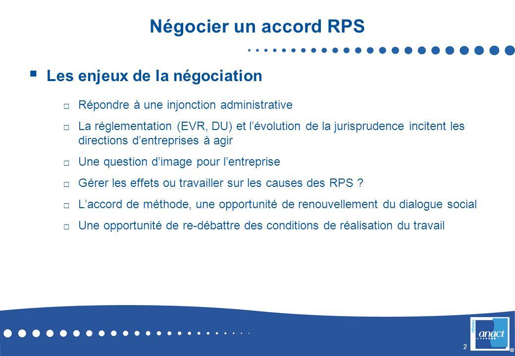 2 © Négocier un accord RPS Les enjeux de la négociation Répondre à une injonction administrative La réglementation (EVR, DU) et lévolution de la juris