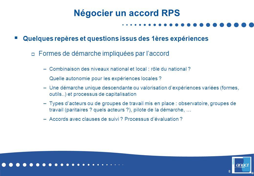 8 © Négocier un accord RPS Quelques repères et questions issus des 1ères expériences Formes de démarche impliquées par laccord –Combinaison des niveau