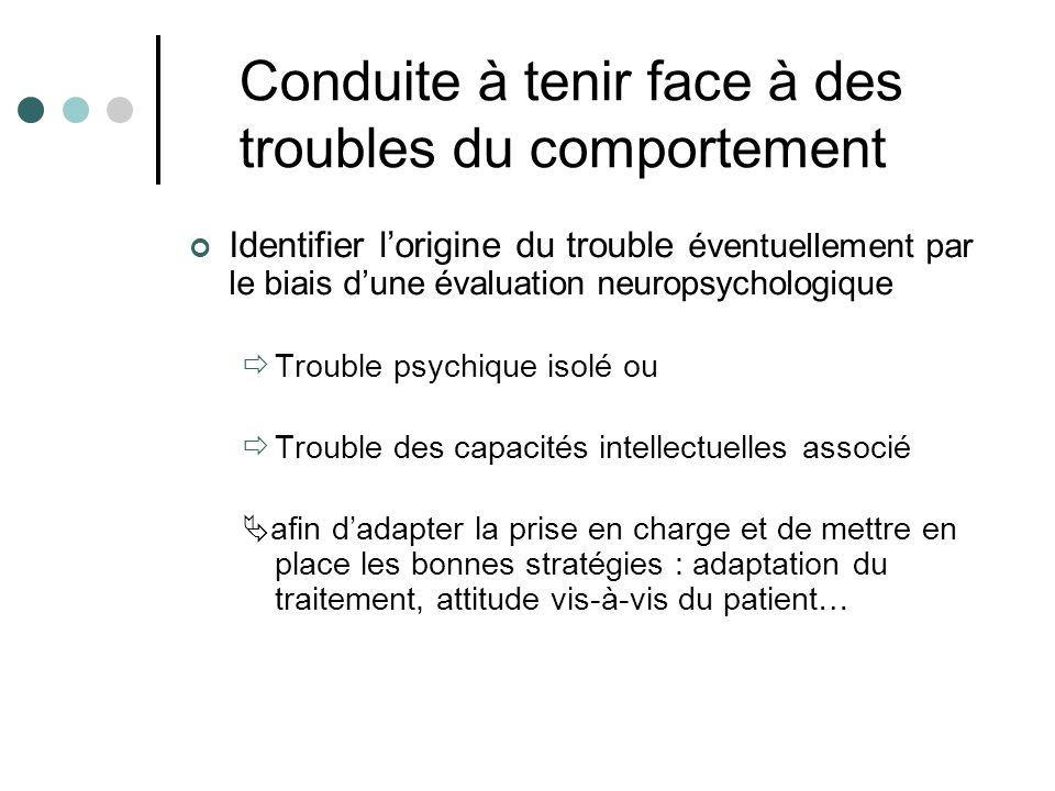 Conduite à tenir face à des troubles du comportement Identifier lorigine du trouble éventuellement par le biais dune évaluation neuropsychologique Tro