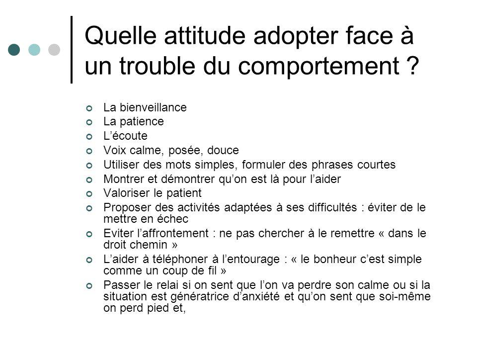 Quelle attitude adopter face à un trouble du comportement ? La bienveillance La patience Lécoute Voix calme, posée, douce Utiliser des mots simples, f