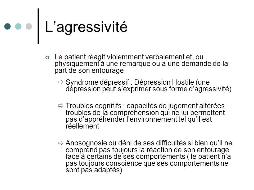 Lagressivité Le patient réagit violemment verbalement et, ou physiquement à une remarque ou à une demande de la part de son entourage Syndrome dépress