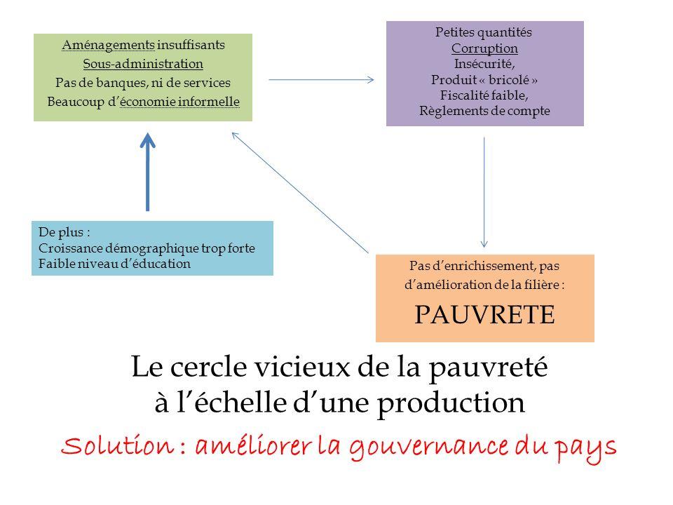 Le cercle vicieux de la pauvreté à léchelle dune production Aménagements insuffisants Sous-administration Pas de banques, ni de services Beaucoup déco