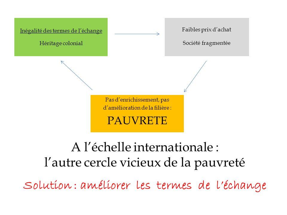 A léchelle internationale : lautre cercle vicieux de la pauvreté Inégalité des termes de léchange Héritage colonial Faibles prix dachat Société fragme