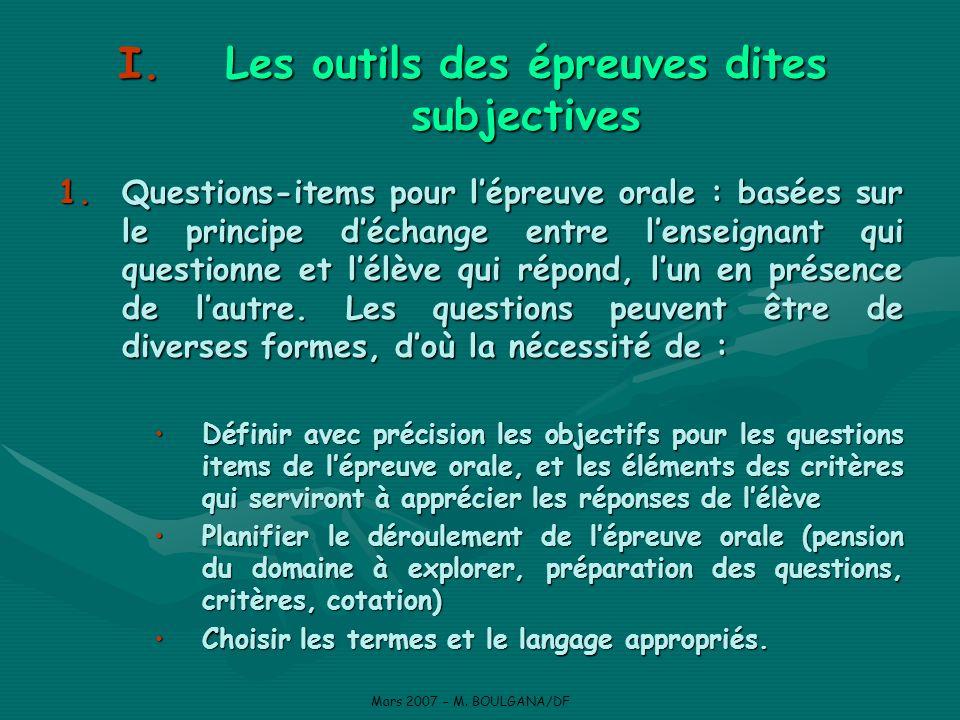 Diverses formes de questions items type appariement (ou type associatif) Mars 2007 – M.