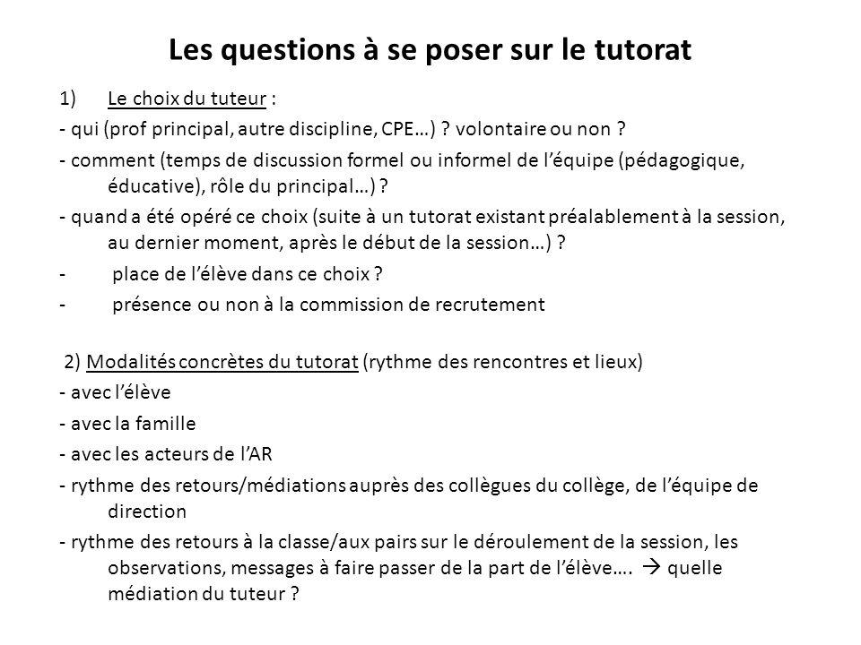 Les questions à se poser sur le tutorat 1)Le choix du tuteur : - qui (prof principal, autre discipline, CPE…) ? volontaire ou non ? - comment (temps d
