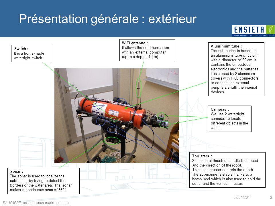 SAUC'ISSE, un robot sous-marin autonome 03/01/20143 Présentation générale : extérieur Aluminium tube : The submarine is based on an aluminium tube of