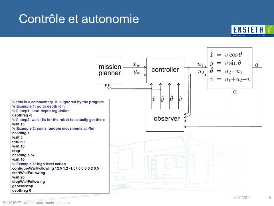 SAUC'ISSE, un robot sous-marin autonome 03/01/20146 Contrôle et autonomie