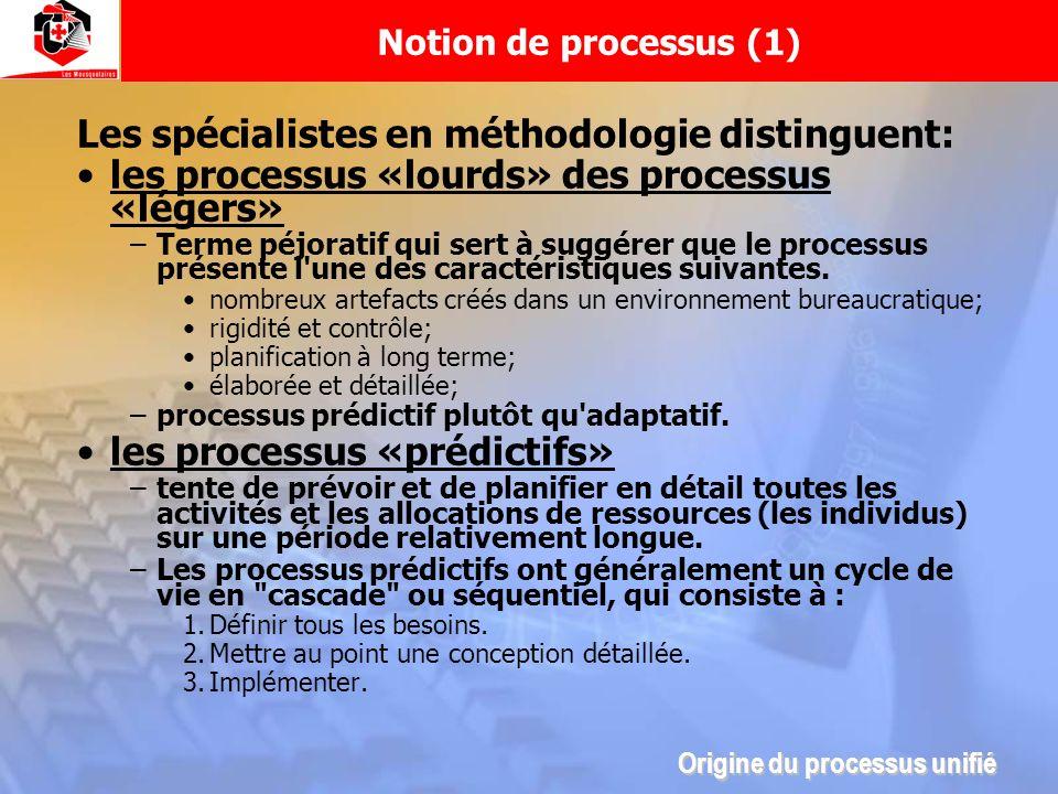Notion de processus (1) Les spécialistes en méthodologie distinguent: les processus «lourds» des processus «légers» –Terme péjoratif qui sert à suggér