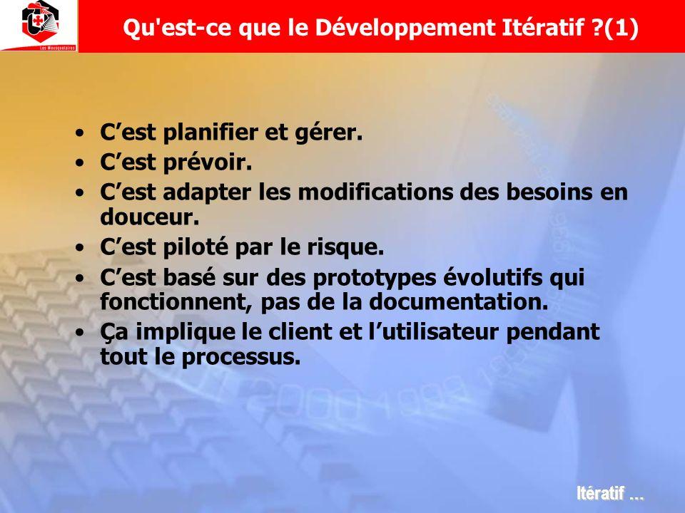 Qu'est-ce que le Développement Itératif ?(1) Cest planifier et gérer. Cest prévoir. Cest adapter les modifications des besoins en douceur. Cest piloté