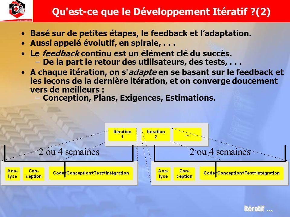Basé sur de petites étapes, le feedback et ladaptation. Aussi appelé évolutif, en spirale,... Le feedback continu est un élément clé du succès. –De la