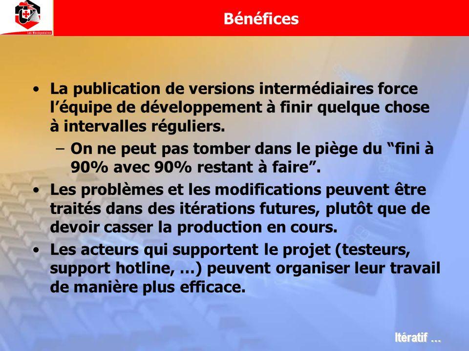 Bénéfices La publication de versions intermédiaires force léquipe de développement à finir quelque chose à intervalles réguliers. –On ne peut pas tomb