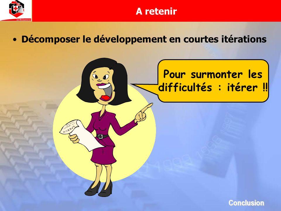 A retenir Décomposer le développement en courtes itérations Pour surmonter les difficultés : itérer !! Conclusion