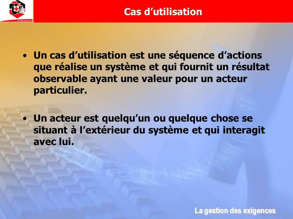 Cas dutilisation Un cas dutilisation est une séquence dactions que réalise un système et qui fournit un résultat observable ayant une valeur pour un a
