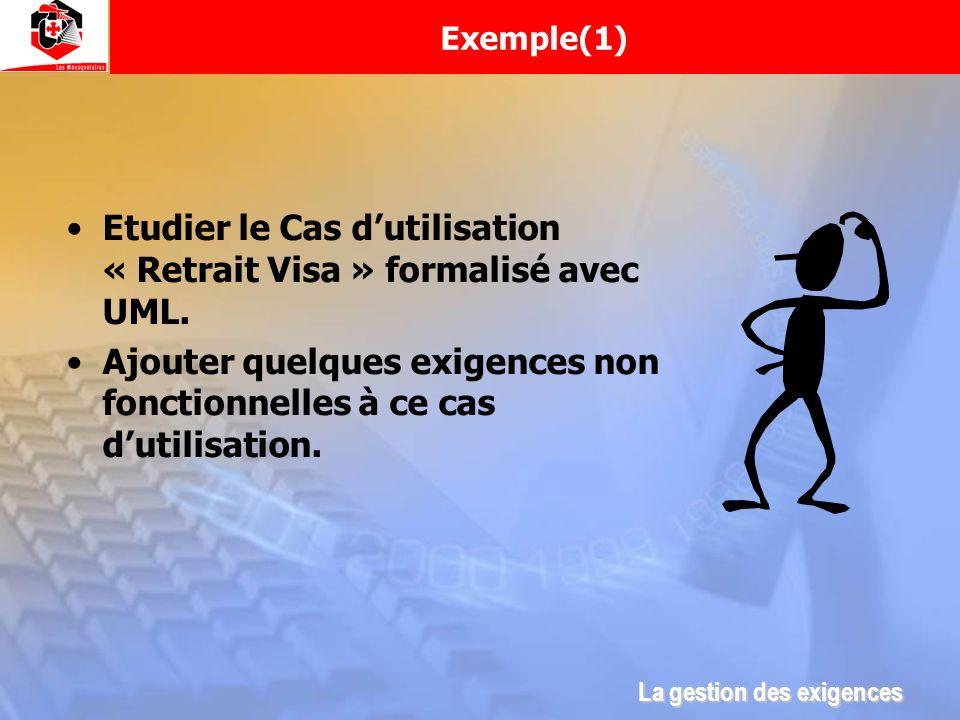 Exemple(1) Etudier le Cas dutilisation « Retrait Visa » formalisé avec UML. Ajouter quelques exigences non fonctionnelles à ce cas dutilisation. La ge
