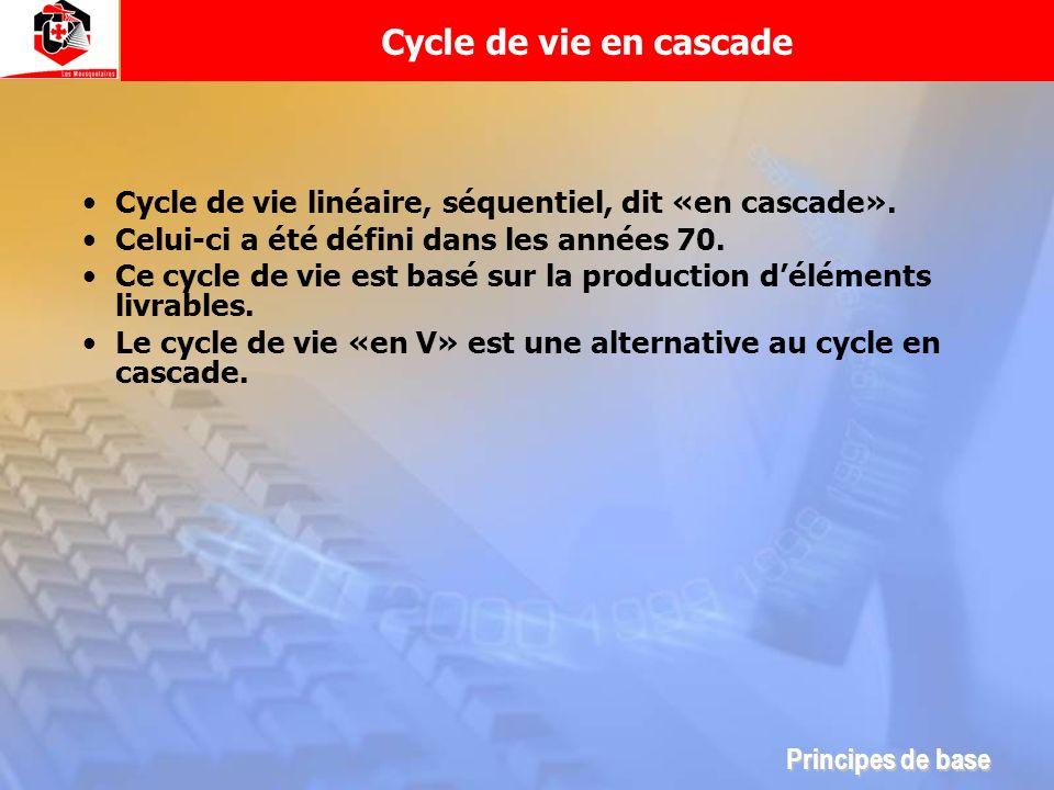 Cycle de vie linéaire, séquentiel, dit «en cascade». Celui-ci a été défini dans les années 70. Ce cycle de vie est basé sur la production déléments li