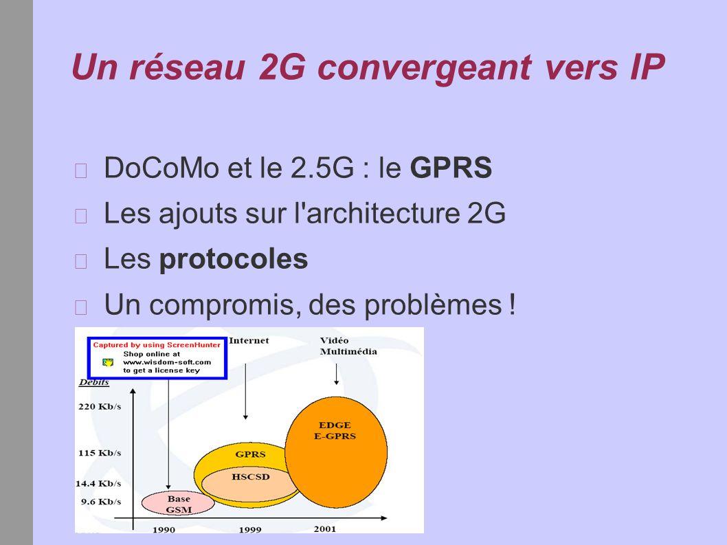 Un réseau 2G convergeant vers IP DoCoMo et le 2.5G : le GPRS Les ajouts sur l architecture 2G Les protocoles Un compromis, des problèmes !