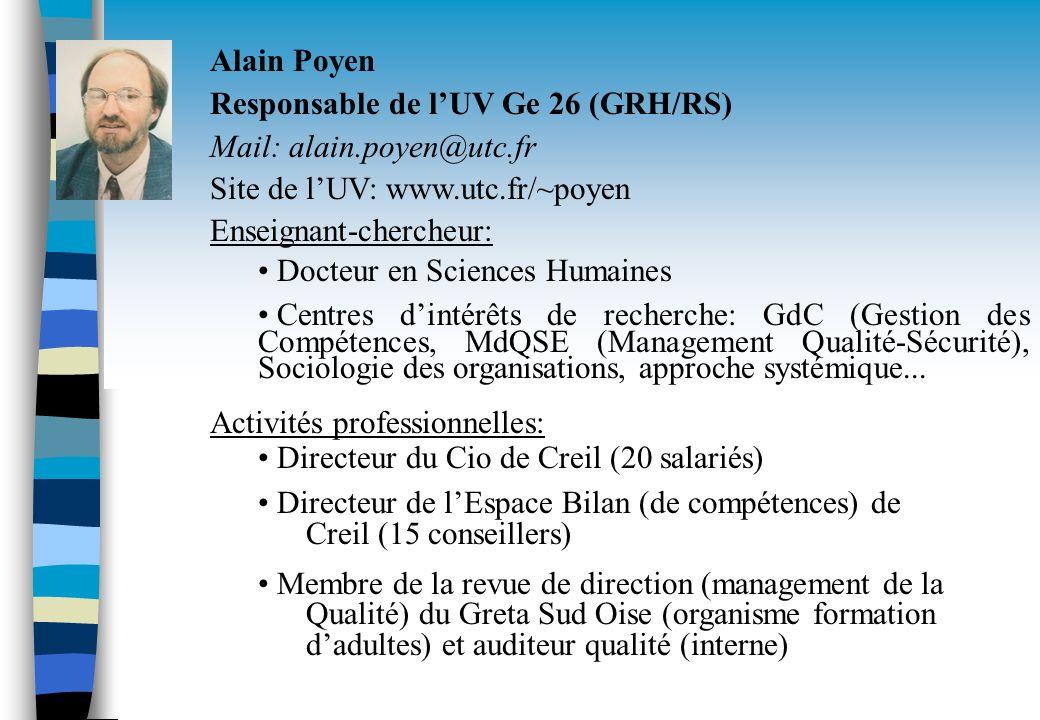 Alain Poyen Responsable de lUV Ge 26 (GRH/RS) Mail: alain.poyen@utc.fr Site de lUV: www.utc.fr/~poyen Enseignant-chercheur: Docteur en Sciences Humain