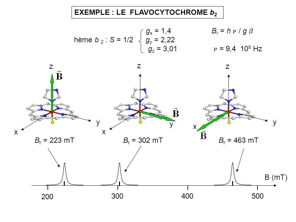 EXEMPLE : LE FLAVOCYTOCHROME b 2 x y z g x = 1,4 hème b 2 : S = 1/2 g y = 2,22 g z = 3,01 B r = h / g = 9,4 10 9 Hz x y z x y z B r = 463 mTB r = 302