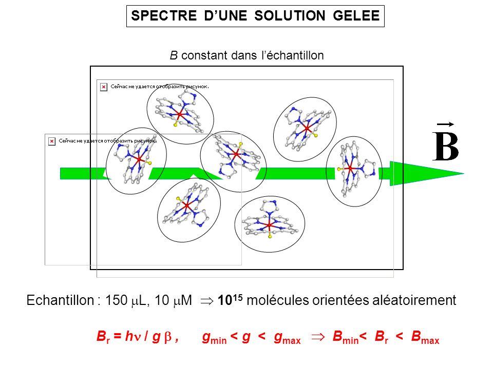 SPECTRE DUNE SOLUTION GELEE B r = h / g, g min < g < g max B min < B r < B max B constant dans léchantillon Echantillon : 150 L, 10 M 10 15 molécules