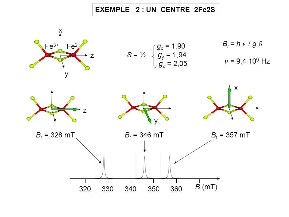 EXEMPLE 2 : UN CENTRE 2Fe2S x y z Fe 3+ Fe 2+ g x = 1,90 S = ½ g y = 1,94 g z = 2,05 B r = h / g = 9,4 10 9 Hz 320330340360 B (mT) 350 x B r = 357 mTB