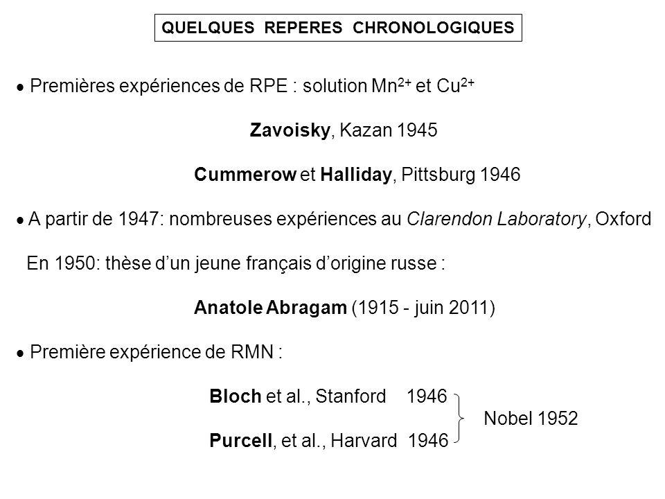 QUELQUES REPERES CHRONOLOGIQUES Premières expériences de RPE : solution Mn 2+ et Cu 2+ Zavoisky, Kazan 1945 Cummerow et Halliday, Pittsburg 1946 A par