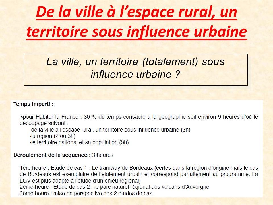 De la ville à lespace rural, un territoire sous influence urbaine La ville, un territoire (totalement) sous influence urbaine ?