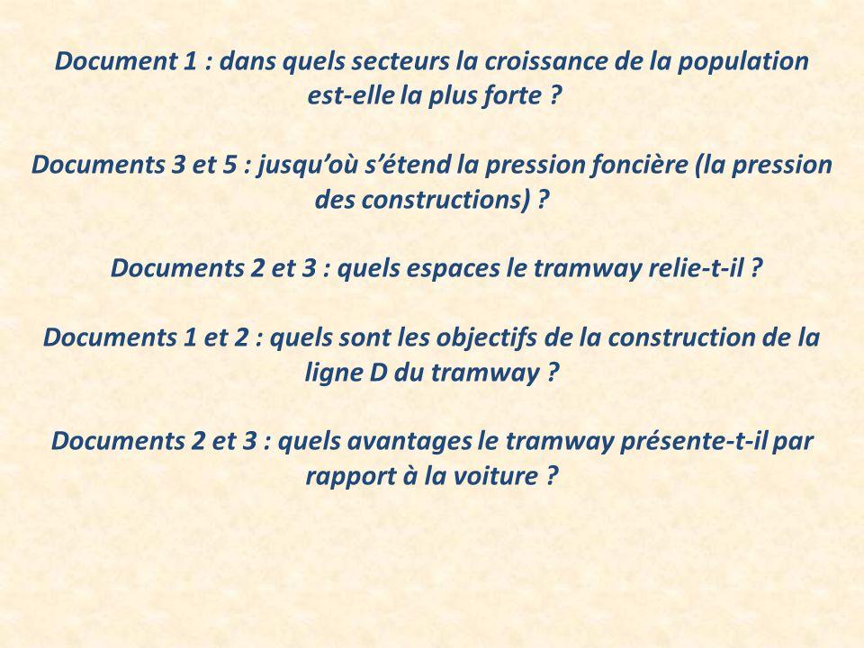 Document 1 : dans quels secteurs la croissance de la population est-elle la plus forte ? Documents 3 et 5 : jusquoù sétend la pression foncière (la pr